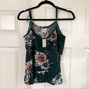 Maurices Green Floral Ruffle Tank Top Size Large